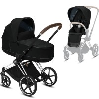 Коляска Cybex Priam 2 в 1 Deep Black шасі Chrome Brown