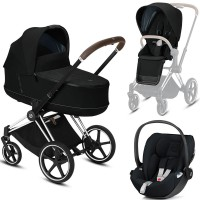 Коляска Cybex Priam 3 в 1 Deep Black шасі Chrome Brown автокрісло Cloud Z-iSize
