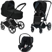 Коляска Cybex Priam 3 в 1 Deep Black шасі Chrome Black автокрісло Cloud Z-iSize