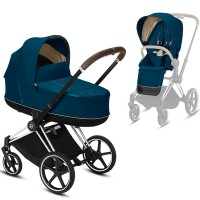 Коляска Cybex Priam 2 в 1 Mountain Blue шасі Chrome Brown