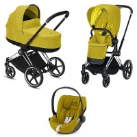 Коляска Cybex Priam 3 в 1 Mustard Yellow шасі Chrome Black автокрісло Cloud Z-iSize