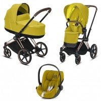 Коляска Cybex Priam 3 в 1 Mustard Yellow шасі Rosegold автокрісло Cloud Z-iSize