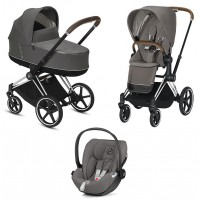 Коляска Cybex Priam 3 в 1 Soho Grey шасі Chrome Brown автокрісло Cloud Z-iSize