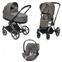 Коляска Cybex Priam 3 в 1 Soho Grey шасі Chrome Black автокрісло Cloud Z-iSize