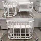 Ліжко-трансформер кругле 7 в 1 white