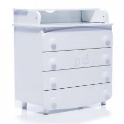Комод-пеленатор Верес 900 різьблення Ведмедик стрази (колір: білий)