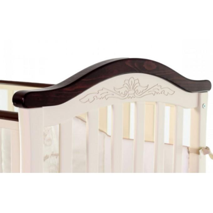 Ліжечко Верес ЛД3 без шухляди (колір: слонова кістка/горіх) ЄС