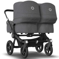 Bugaboo Donkey 3 Black Twin коляска для двійні 2 в 1 grey melange